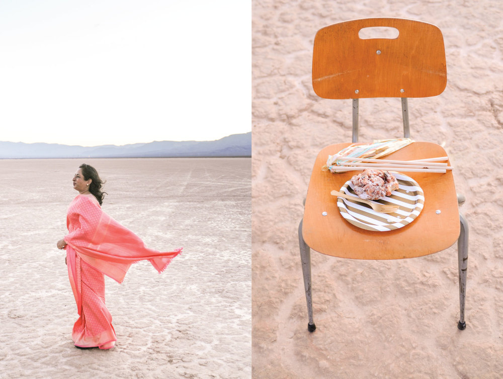 DRY LAKE BED WEDDING, VINTAGE WEDDING, VINTAGE TRAILER WEDDING, SILVER TRAILER, FLORA POP WEDDING, LAS VEGAS DESERT ELOPEMENT, PINK WEDDING DRESS, SEQUINS WEDDING DRESS,