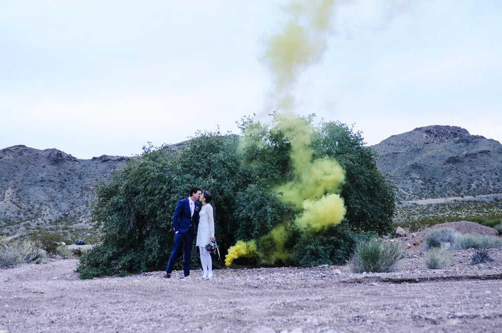 pop up wedding, flora pop wedding, elopement, las vegas elopement, desert elopement, smoke bomb wedding