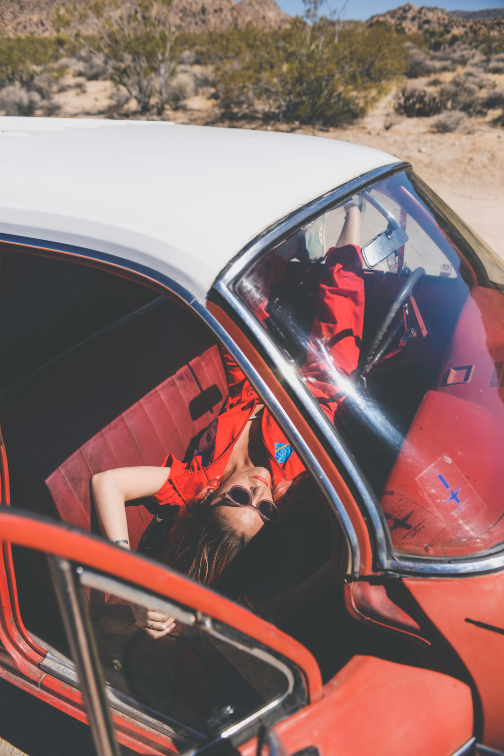 festival wear, vintage jumpsuit, red, festival outfit, ldv vintage, boho bunnie, joshua tree, desert vibes, ashley marie myers, festival gear, vintage outfits, vintage wear, boho, vintage car, red car,
