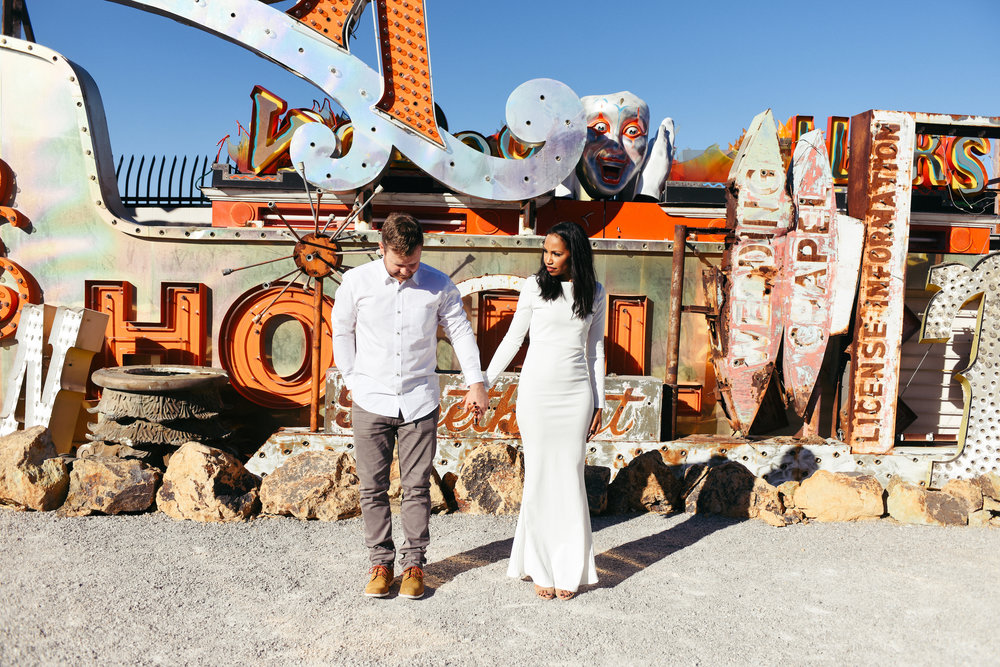 Neon Museum, Las Vegas Neon Museum, Neon Museum wedding, Vintage signs, Las Vegas Elopement, Flora Pop Elopement, Dry Lake Bed Elopement,