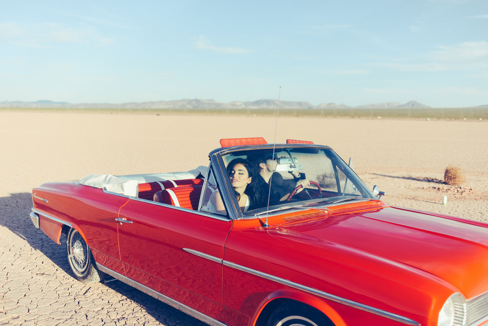vintage cars, convertible, vintage convertible, las vegas chapel, las vegas wedding, rock'n roll wedding, downtown las vegas, vegas, tattoo wedding, non-traditional wedding, elopements, elope, elopement, dry lake bed wedding, dry lake bed, las vegas elopement, elope in vegas