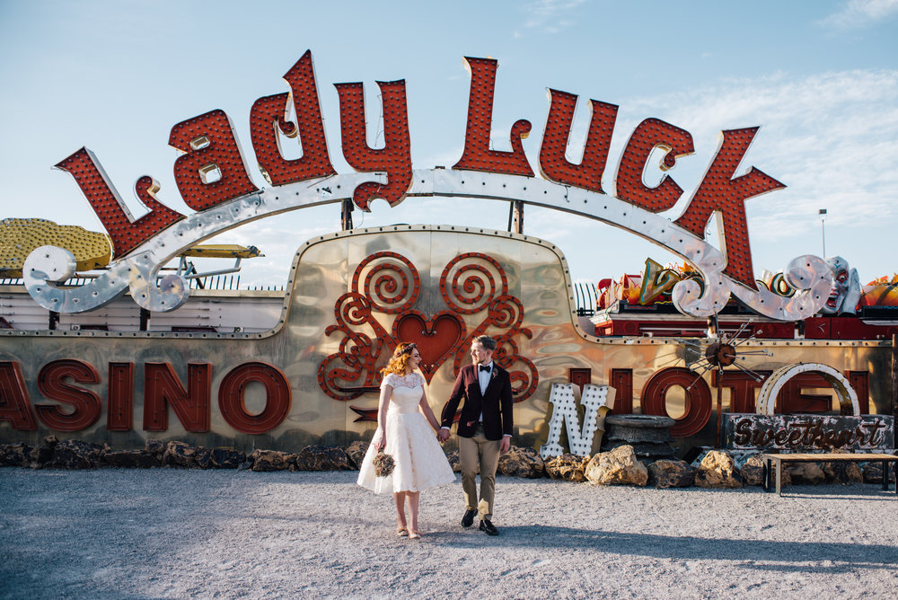 Neon museum Las vegas, Neon Signs, red head, ginger bride, vintage wedding, wedding las vegas, elopement las vegas, elopement, peachy keen union, red head bride, vintage bride, vintage car, tetra, yellow, desert wedding, summer wedding, las vegas, mojave desert, wedding inspiration, wed, i do, charming, las vegas elopement, elope, elopement photographer