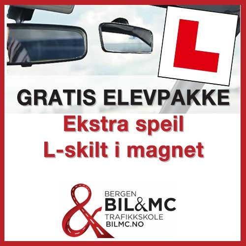 Gratis elevpakke til alle trafikalt grunnkurs elever: Speil, magnetisk L-skilt og refleks. Verdi kr 120,-