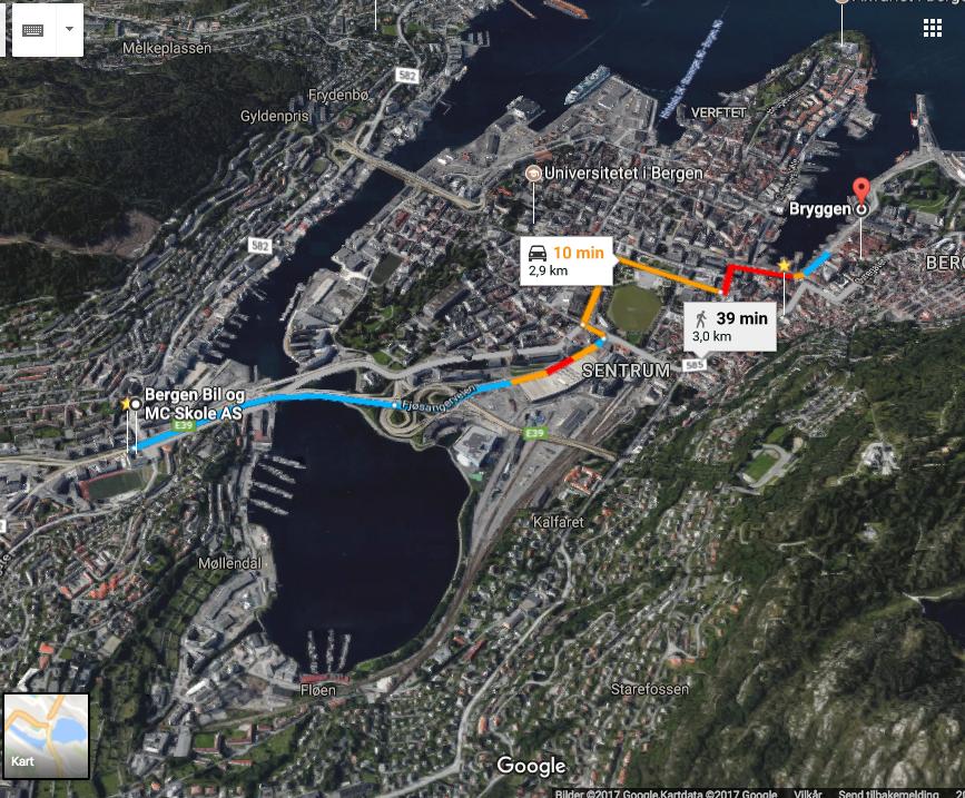 Kartkjøring trinn 4 - Mot slutten av opplæringen skal du planlegge og gjennomføre en rute i variert trafikkmiljø. Vi har laget ruten for deg, og du skal planlegge denne etter beste evne. Husk at alle hjelpemidler er tillatt.