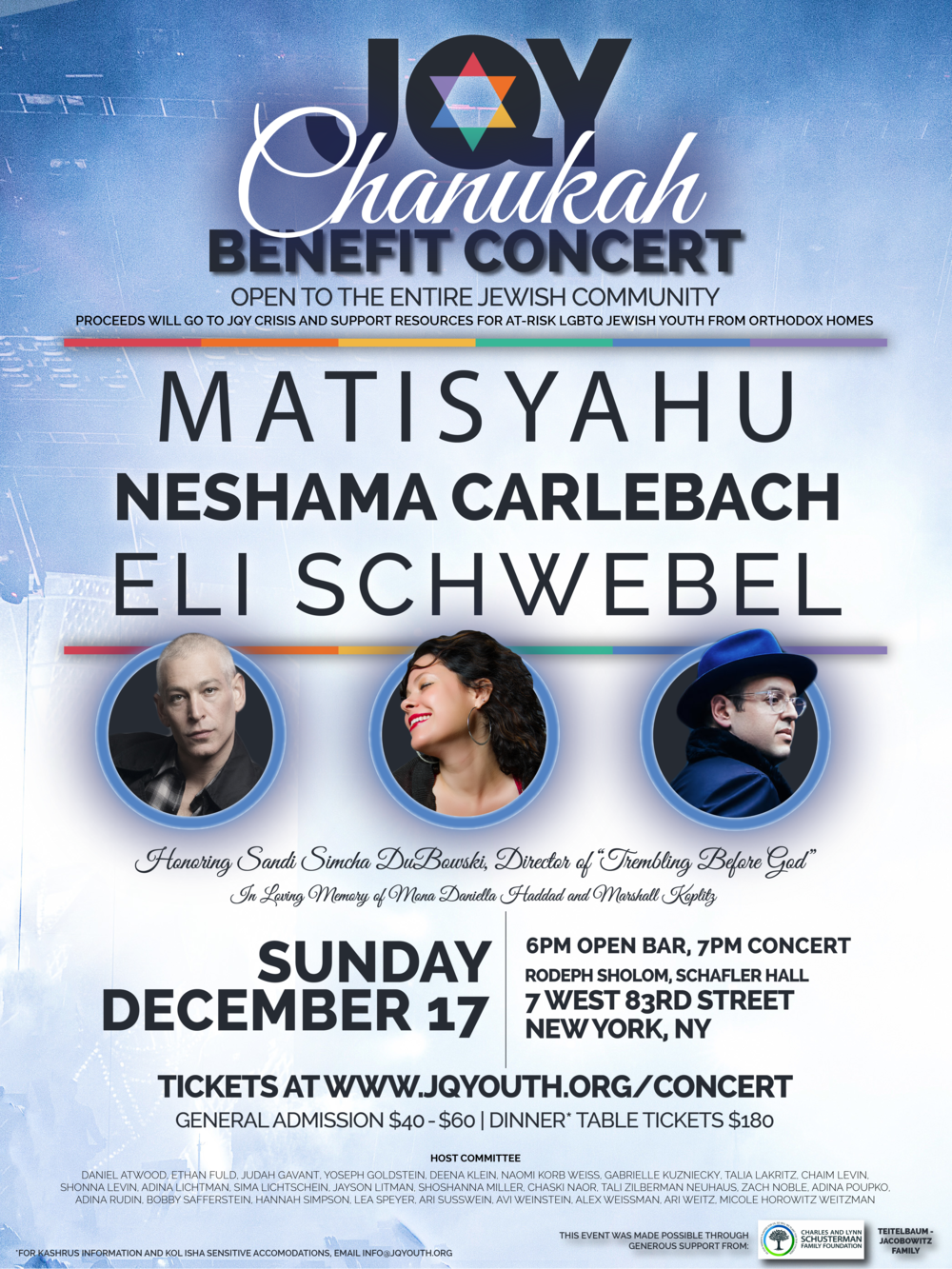 Chanukah Benefit Concert - Concert Poster, Jewish Queer Youth