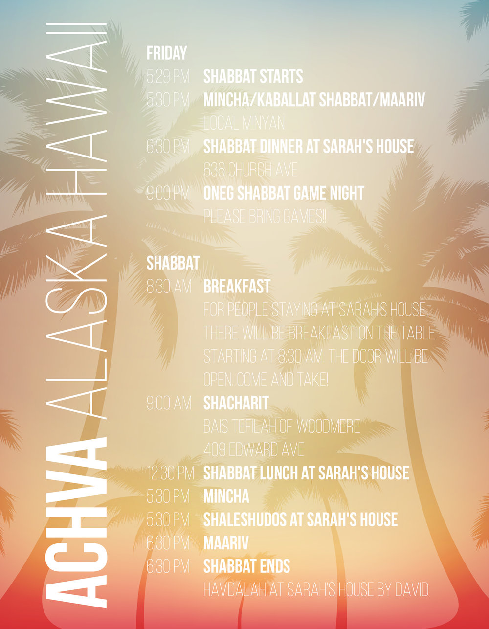 Achva Alaska Hawaii Reunion - Retreat Schedule, Achva