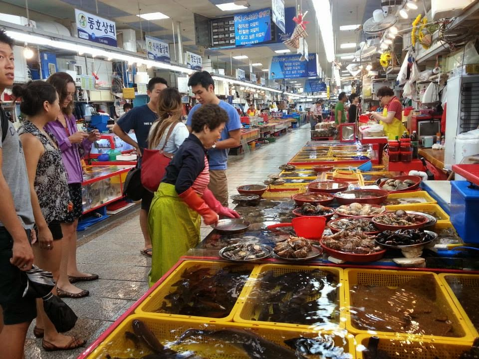In the indoor portion of Busan's Jagalchi fish market.
