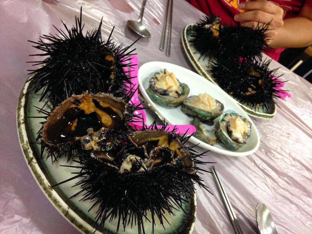 Sea urchin and abalone