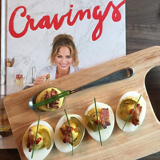 Secretly spicy deviled eggs 🌶🍳 - course 1 of #cookbookclub number 6 with @chrissyteigen #cravingscookbook ! So delish 😋 thanks @jaychoi820 and @susboos