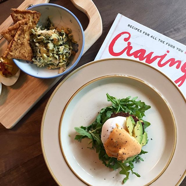 Crab cake Benedict and chicken spinach artichoke dip by @chiangmj and @rayliaw ! 😋😋😋 #cookbookclub #chrissyteigen #cravingscookbook