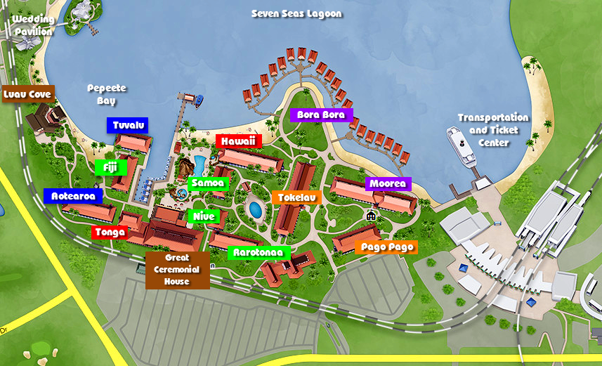 Map of DIsney's Polynesian Village Resort