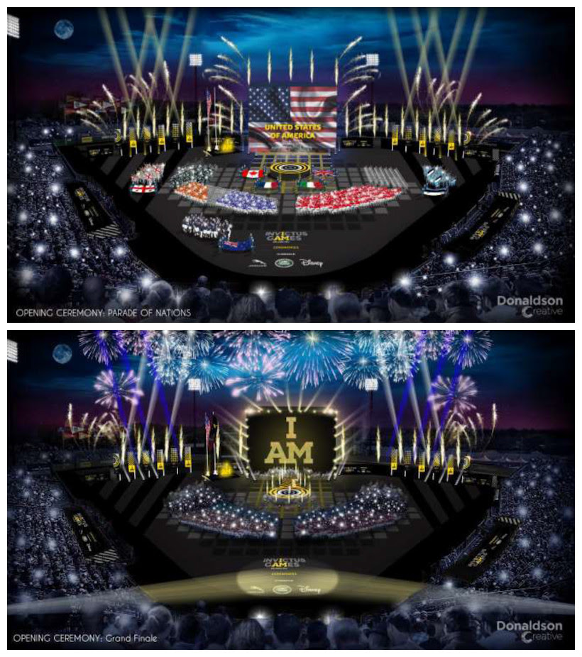 To give you an idea of the pageantry of the Opening Ceremony, here's a peek at two newly-released renderings of the event's stage.