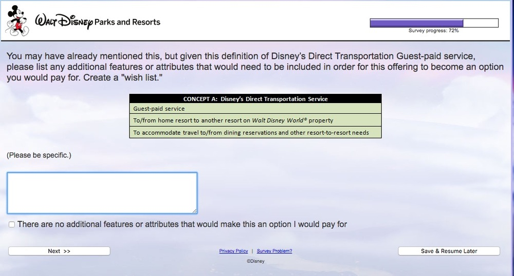 Walt Disney World Transportation Survey