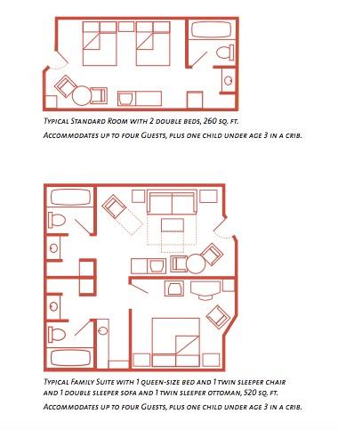 Floor Plan Disney's All Star Resort Rooms