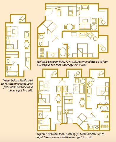 Floorplans for Boulder Ridge Villas at Disney's Wilderness Lodge Resorts