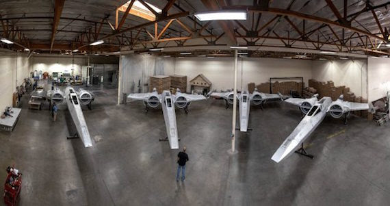 A fleet of full-size X-wing starfighters are being built.