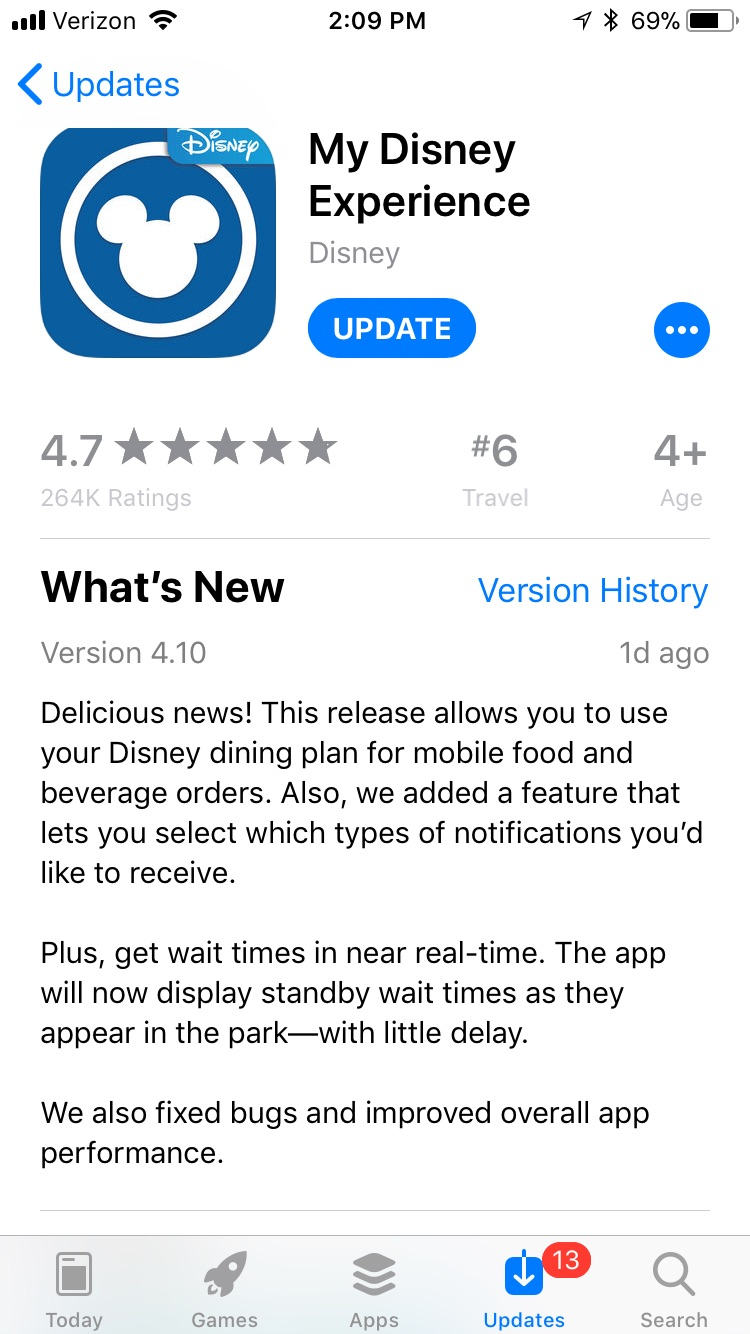 My Disney Experience Mobile App Update