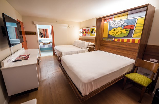 A newly refurbished room at Disney's Pop Century Resort