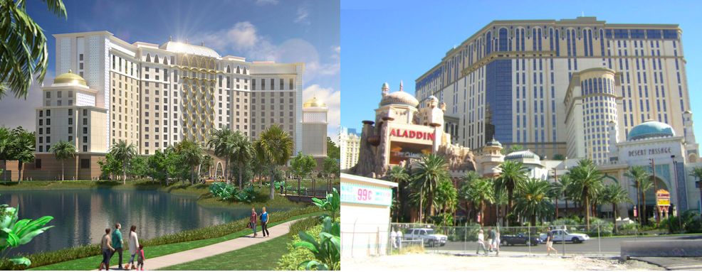 Disney's Gran Destino Tower resembles the now defunct, Aladdin Hotel and Casino is Las Vegas.