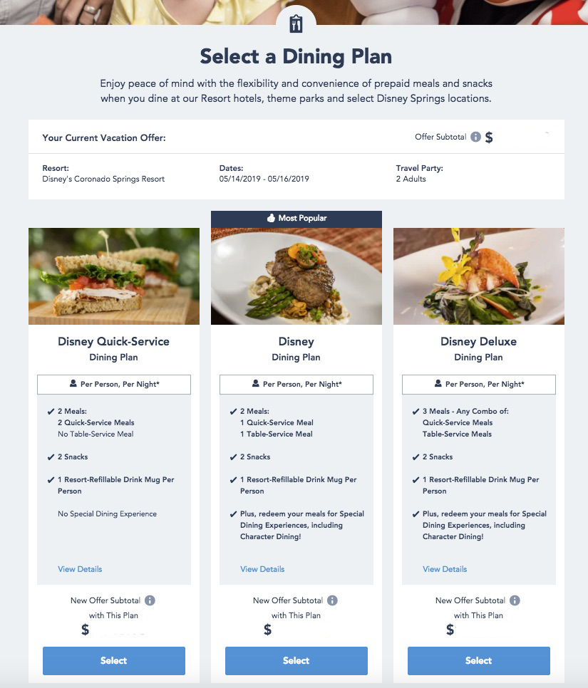 New Look for the Disney Dining Plan page | Walt Disney World