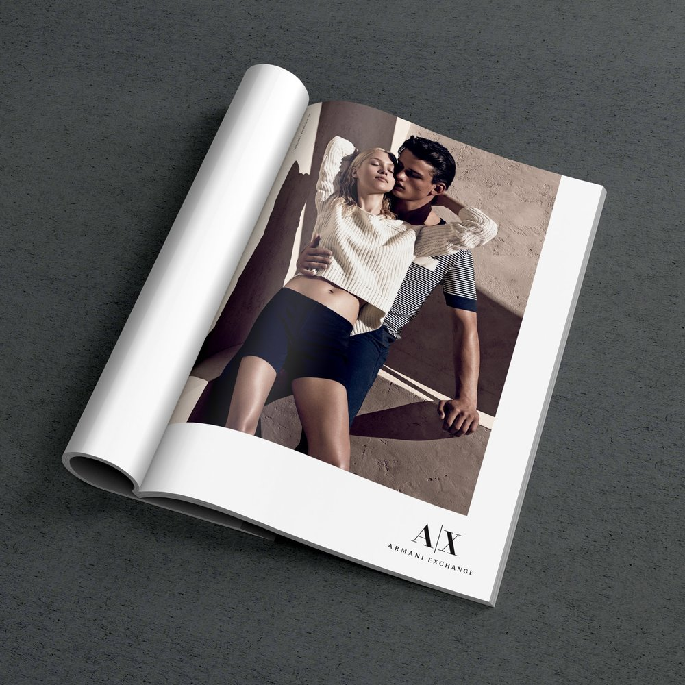 Armani Exchange Spring '14 Campaign  Developed font/ swatch/ logo treatments and cropping guidelines for all seasonal advertising pieces