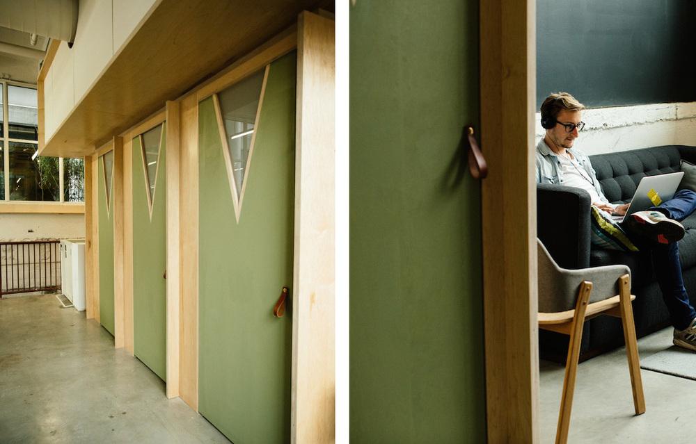 Leather door pulls at Makeshift Society Brooklyn