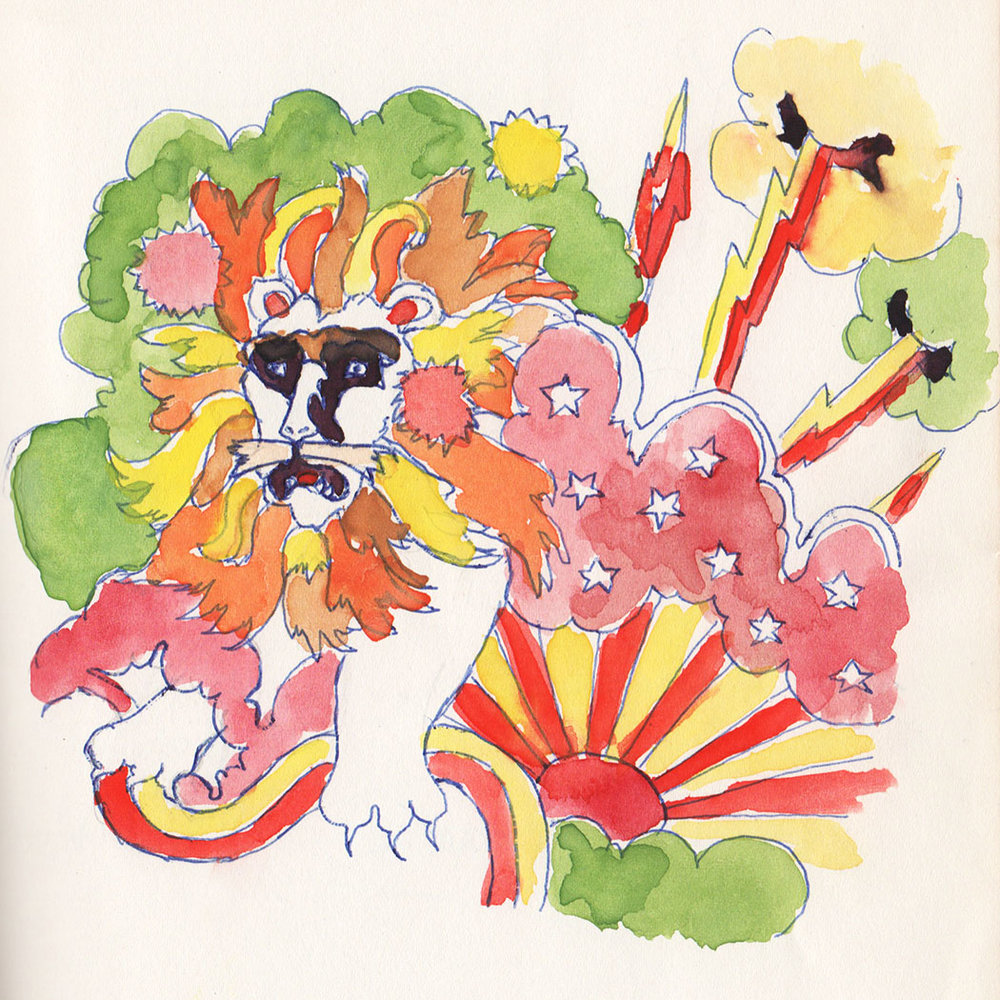Illustration by my sister Louise Monforte when she was a teen. She was a Leo with her birthday in August. I didn't plan my header painting to match the colors of her Lion but it was very joyful coincidence!