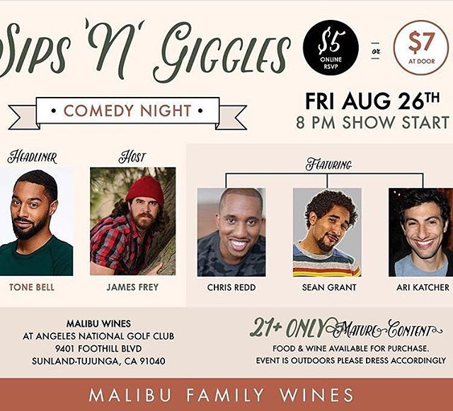 Join us Friday (Aug 26th) for Sips N Giggles #comedyshow!  Starts at 8pm $7 cash at the door Food available for purchase @agavebarandgrill . . . . #comedy #angelesnationalforest #angelesnational #golf #show #veryfunny #comedycentral @tonebell @jamesfreycomedy