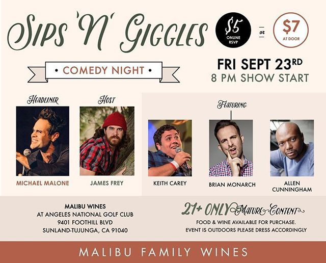 TONIGHT!!! Join us for the hysterical comedy show Sips N Giggles! . . Grab a bite to eat at @agavebarandgrill then enjoy a glass of wine a barrel of laughs with us! . . Starts at 8pm $7 cash at the door 21+ only! . . . #sunland #losangeles #comedy #comedyshow @jamesfreycomedy #veryfunny @teamcoco @jimmyfallon @comedycentral
