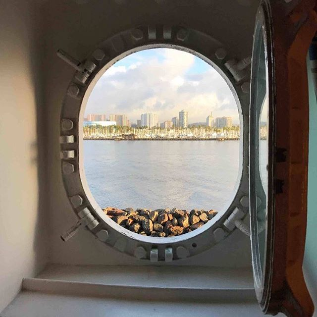 A wintery Long Beach morning through the porthole. Photo credit: @jgindeu #queenmary #malibuwines #longbeach