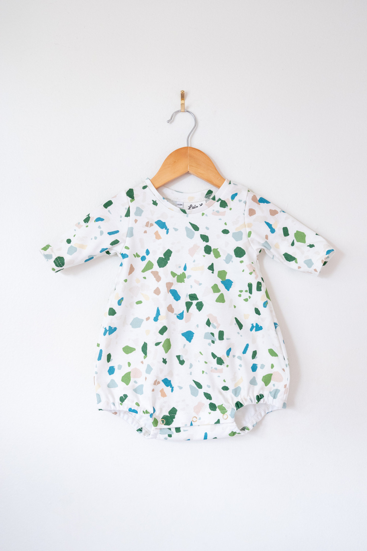 43e1b0d79dd6 bubble romper with sleeves // terrazzo print — Lola & Stella