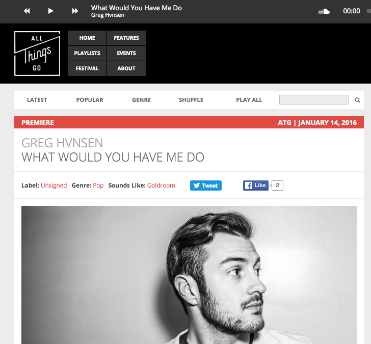 """All Things Gois streaming GREG HVNSEN's new single """"What Would You Have Me Do""""! Listen on Soundcloudand follow Greg on Facebookand Twitter!"""