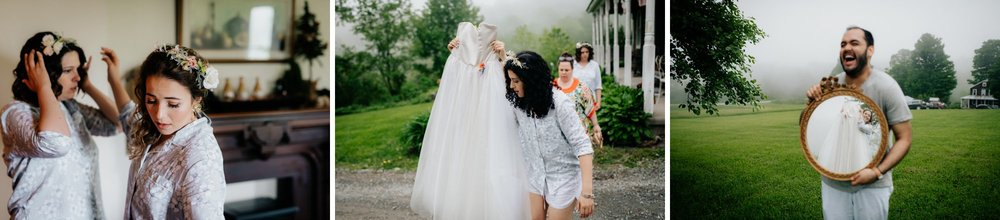 Fiddle Lake Farm Philadelphia Pennsylvania Misty Rustic Wedding with Lush Florals Bridal Prep in a Field