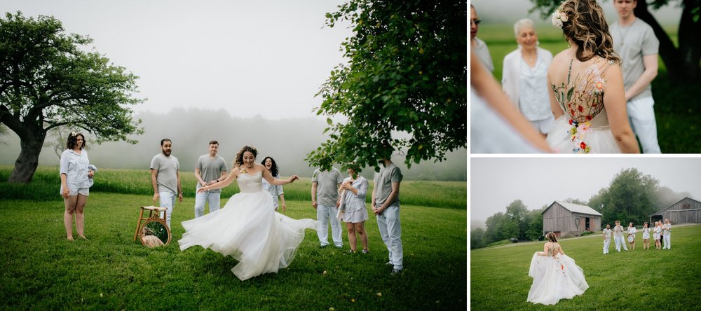 Fiddle Lake Farm Philadelphia Pennsylvania Misty Rustic Wedding with Lush Florals Outdoor Bridal Prep