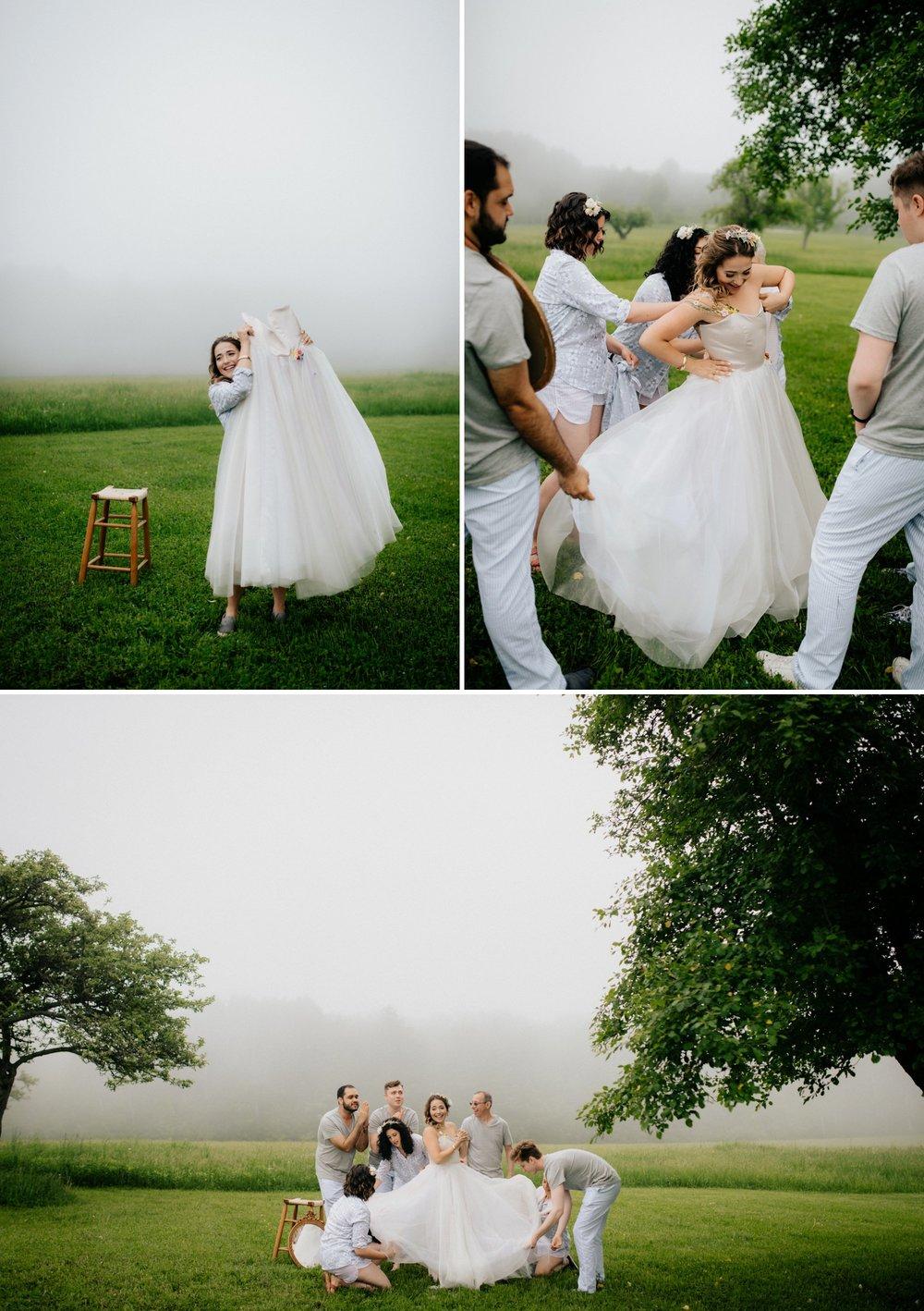 Fiddle Lake Farm Philadelphia Pennsylvania Misty Rustic Wedding with Lush Florals Foggy Outdoor Bridal prep