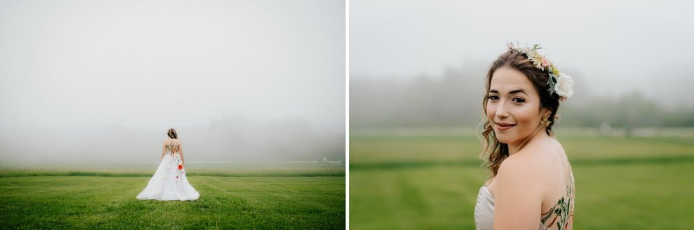 Fiddle Lake Farm Philadelphia Pennsylvania Misty Rustic Wedding with Lush Florals Bridal portraits in a foggy field