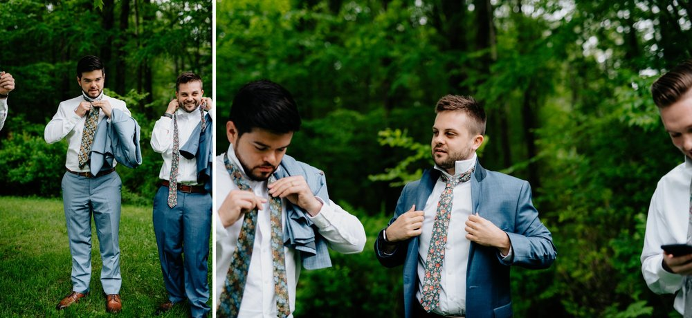 Fiddle Lake Farm Philadelphia Pennsylvania Misty Rustic Wedding with Lush Florals Guys prep