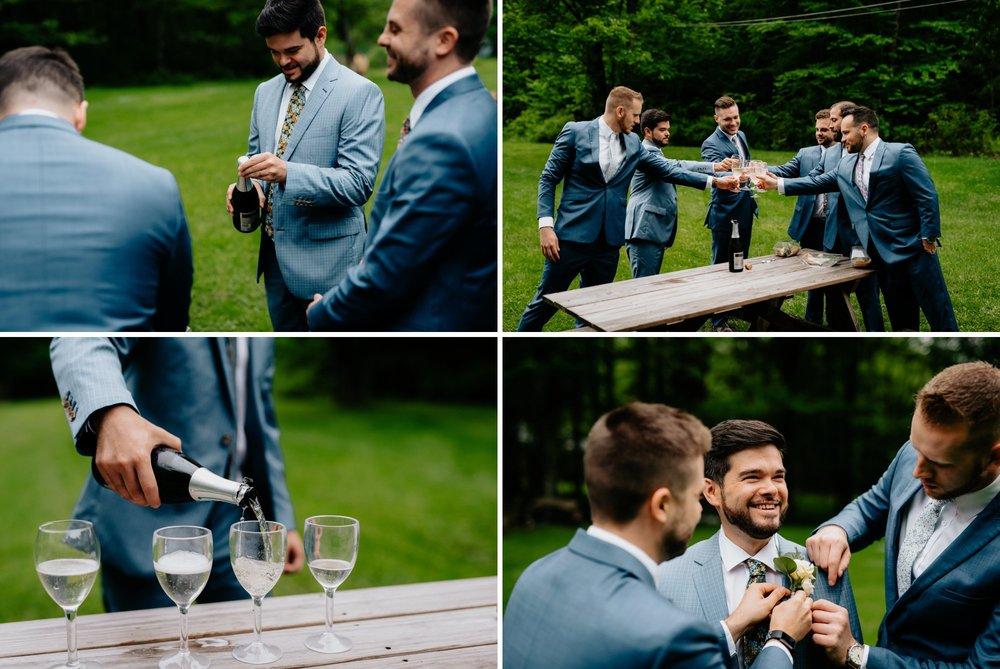 Fiddle Lake Farm Philadelphia Pennsylvania Misty Rustic Wedding with Lush Florals Groomsmen toast