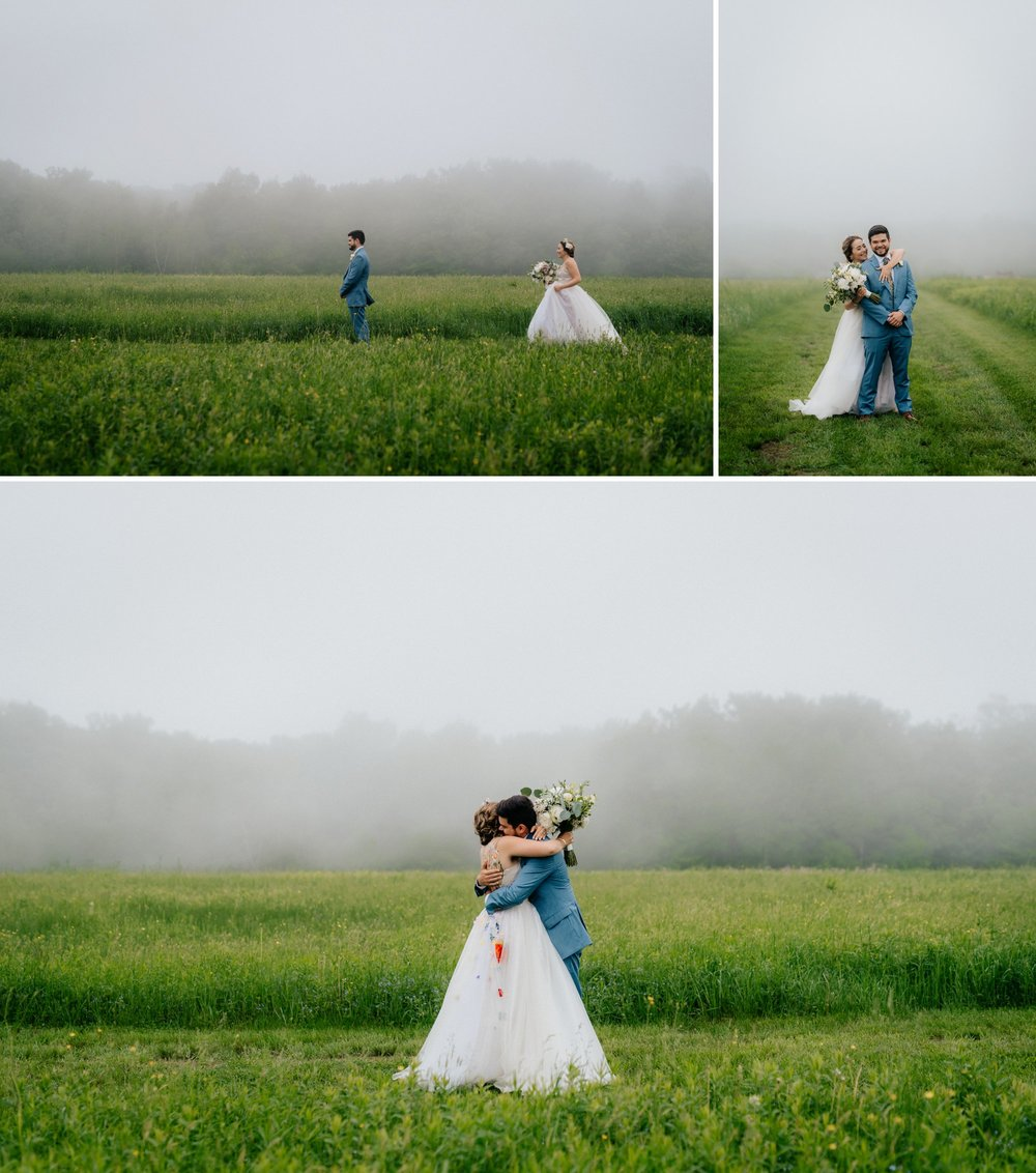 Fiddle Lake Farm Philadelphia Pennsylvania Misty Rustic Wedding with Lush Florals First Look