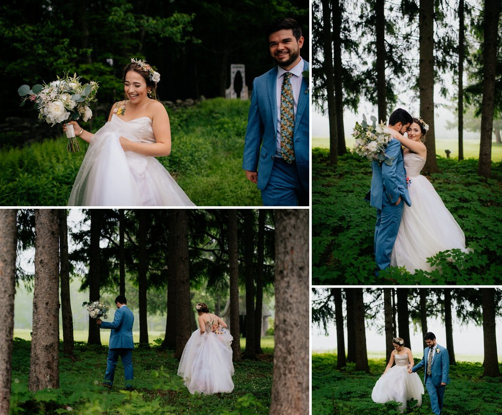 Fiddle Lake Farm Philadelphia Pennsylvania Misty Rustic Wedding with Lush Florals Forest Portraits