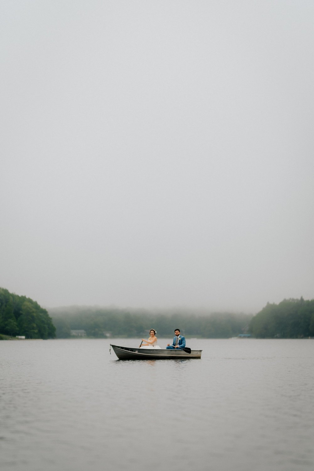 Fiddle Lake Farm Philadelphia Pennsylvania Misty Rustic Wedding with Lush Florals Rowboat portrait