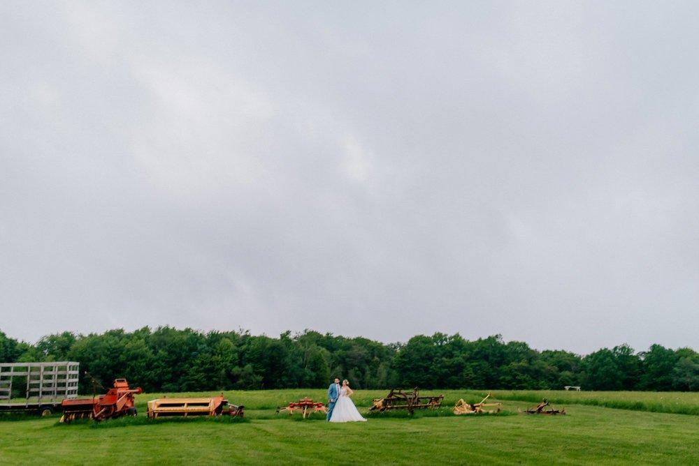 Fiddle Lake Farm Philadelphia Pennsylvania Misty Rustic Wedding with Lush Florals Farm equipment