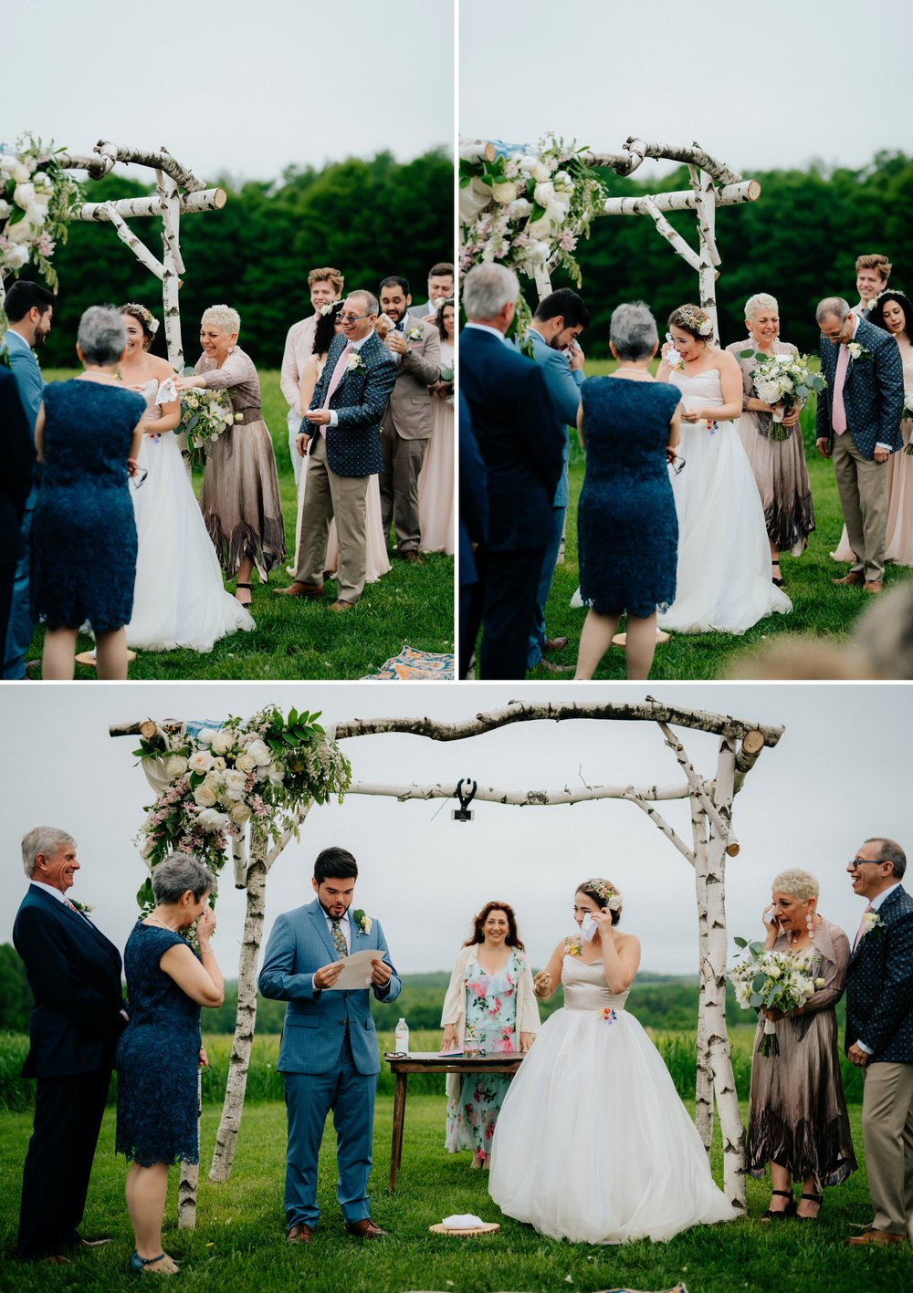 Fiddle Lake Farm Philadelphia Pennsylvania Misty Rustic Wedding with Lush Florals Ceremony Crying