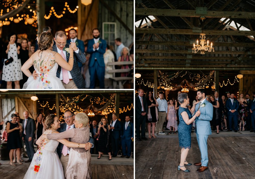 Fiddle Lake Farm Philadelphia Pennsylvania Misty Rustic Wedding with Lush Florals Parent Dances