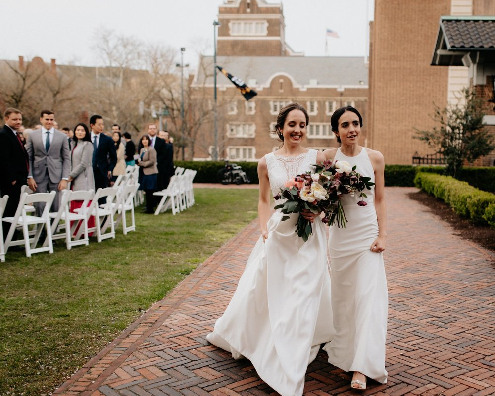 Same Sex Lesbian Wedding at the Penn Museum with Iconic Portraits at Franklin Field in Philadelphia, PA
