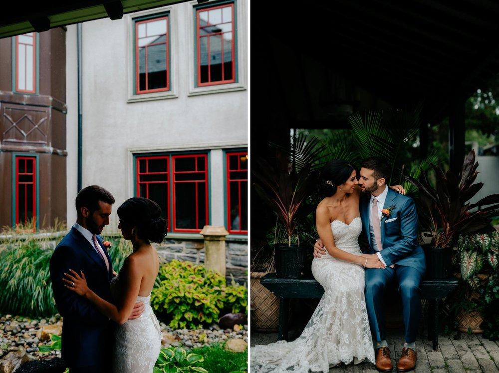 Lush Rainy Wedding at Knowlton Mansion in Philadelphia PA Moody Shadows and Umbrella Portraits