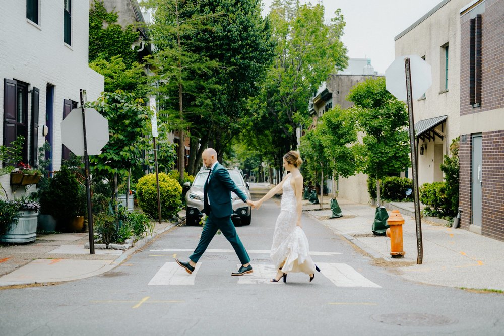 Stylish Philadelphia Wedding with preparations at Stay Lokal Bok and AirBnb and a Bok Building Rooftop Ceremony Grooms Fashion