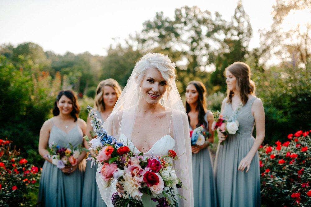 Viva Love Wedding Photography Morris Arboretum Outdoor Ceremony Bright Florals Neon Bridal Jacket