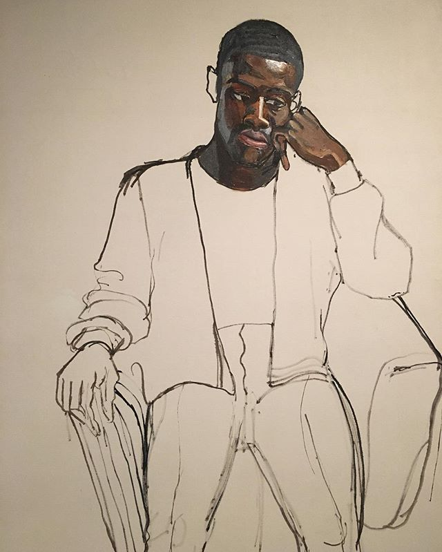 Looking at portraits this week. Like this one of James Hunter by Alice Neel. She often painted local communities in Manhattan. James was scheduled to leave for the Vietnam war a week after Neel began the portrait. When he did not return from the war, Neel declared the unfinished work finished. The weight of loss and devastation of war adds moving context to this work. What a statement. On view at the Met Breuer. Beautifully haunting.