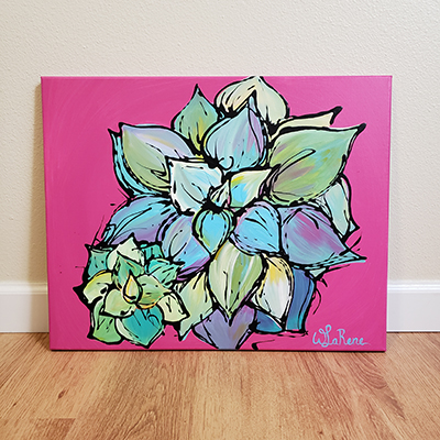 Succulent on Pink